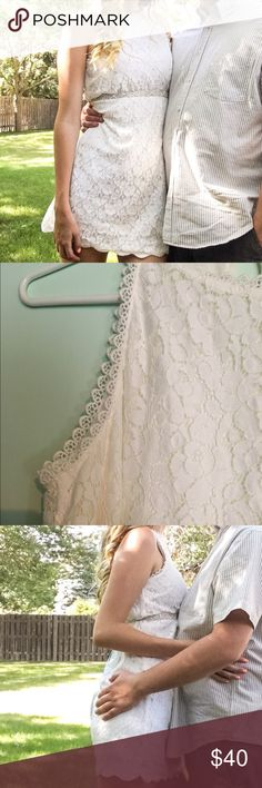 B2G1🎉 White Lace Dress Perfect for bridal shower or other special event💖 adorable scalloped edges. Looks really cute with a sparkly belt! Belt not included. Size EXTRA SMALL but fits more like a small so that's what it's listed under. I typically wear a small. 😊 All proceeds help to fund our dream wedding💖 we are so appreciative of all sales💖 Dresses Mini