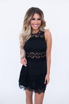 Black Lace Cut Out Dress - Dottie Couture Boutique
