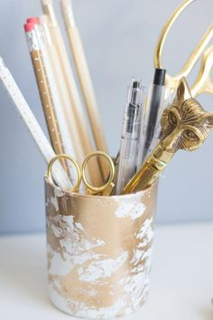 DIY Gold Marbled Pencil Cup - Lovely Indeed