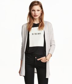 Check this out! Wide-cut cardigan in a soft, fine knit with long sleeves, dropped shoulders, and no buttons. - Visit hm.com to see more.