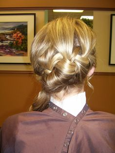 blonde loose braid side pony for prom. Hair by Annifaye.