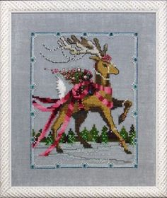 $10.79 Dancer - Christmas Eve Couriers by Nora Corbett Item: NC115 Type: Cross Stitch Patterns Model stitched on 32 Ct. Twilight Blue linen with DMC floss, Rainbow Gallery Wisper (W88), Kreinik #4 Braid (032, 829, 1432), Caron Collection Waterlilies (204, 233), Mill Hill Beads (10001, 10071, 10079) and Mill Hill Treasures (13002, 13052, 13062-2pkgs, 13063). Stitch Count: 80W x 100H.