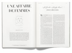 UNE AFFAIRE DE FEMMES — Literature portfolio edited by Jenny Vågan. Including the works of Joyce Carol Oates, Maria Riva, Diane Keaton, Simone de Beauvoir, Liv Ullmann, Patti Smith, Mia Mask, Ally Acker and Susan Sontag. ACNE PAPER, 15th issue
