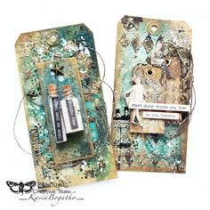 Mixed-media art, art journaling and scrapbooking by polish artist and teacher Anna Dabrowska aka Finnabair. Mixed Media Tutorials, Art Tutorials, Card Tags, Gift Tags, Cards, Mini Albums, Timmy Time, Handmade Tags, Vintage Tags