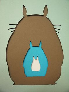 "Totoro Silhouette Negatives Layered Paper Cut Art Piece 5""x7"" Shadowbox Frame These Paper CutOuts are designed using Scale Vector Graphics and cut using a paper cutter for precision details. Than by hand they are arranged"