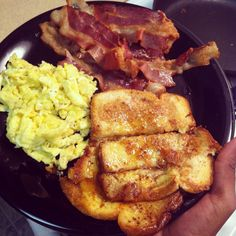 Bacon, eggs, and French toast