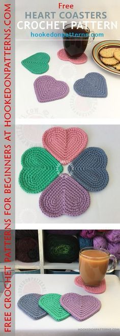 Free Coaster Crochet Pattern - This is a free crochet pattern for beginners - Free heart shaped colourful coasters!
