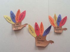 Thankful Thanksgiving Turkeys made out of hand prints.