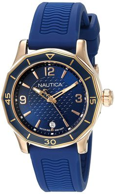 Nautica Women's 'NWS 01' Quartz Stainless Steel and Silicone Casual Watch, Color:Blue (Model: NAD13525L) * Want to know more about the watch, click on the image.