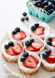 "Mini ""skinny"" Red White & Blue Cheesecake Cupcakes"