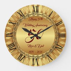Happy Gold 50th Anniversary Large Clock  gifts for grandpa fathers day, fathers day gift wrapping, grandmother diy gifts #weddinggifts #staytraining #veganstrong 1st Fathers Day Gifts, Homemade Fathers Day Gifts, Father Presents, Diy Father's Day Gifts, Father's Day Diy, Grandpa Gifts, Easy Gifts, Gifts For Dad, 50th Wedding Anniversary