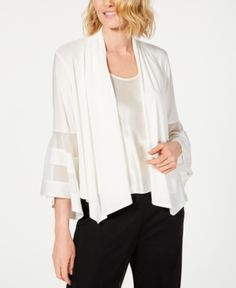 R & M Richards Statement-Sleeve Waterfall Jacket - Ivory/Cream XL Blazer Jackets For Women, Cardigans For Women, Coats For Women, Waterfall Jacket, Plus Size Activewear, Jeans Dress, Jackets Online, Baby Clothes Shops, Trendy Plus Size