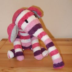 Sock elephant made from one pair of socks plus scraps - tutorial coming soon