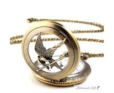 Taschenuhr XXL vintage mit Kolibri inkl. Halskette