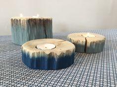 série de 3 bougeoirs en bois peint écolo-chic : Luminaires par atelier-art-b
