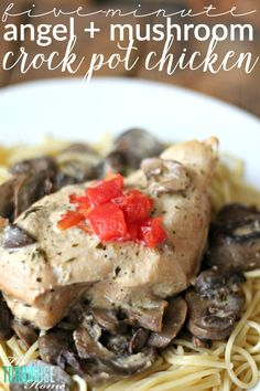 LOVE this yummy angel & mushroom chicken crock pot recipe. It's one of my favorite crock pot recipes; it's yummy and takes lit. Crock Pot Slow Cooker, Slow Cooker Chicken, Slow Cooker Recipes, Crockpot Recipes, Chicken Recipes, Turkey Recipes, Lasagna Recipes, Ham Recipes, Rice Recipes