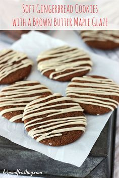 Soft-Baked Molasses Cookies with a Brown Butter Maple Glaze | beyondfrosting.com