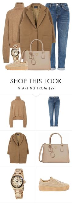 """Coffee To Go"" by monmondefou ❤ liked on Polyvore featuring Topshop, Prada, Invicta, Puma and brown"