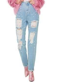 Glamorous Mermaid Dreamz Distressed Jeans cuz you deserve to reign the land, too. These distressed denim jeans feature high waist fit, relaxed leg, classic pockets n front fly closure, and pearl embellishments.