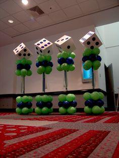 lucky dice balloon columns