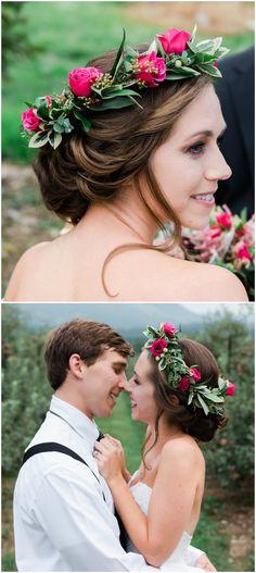 Leafy flower crown, bright pink roses, romantic loose bridal up-do, wedding hair ideas // Kaytlin Lane Photography