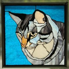 My cat Hudson, created from a photographHudson - Delphi Glass Artist Gallery Entry. Showcase your art glass projects. Faux Stained Glass, Stained Glass Projects, Stained Glass Patterns, Mosaic Animals, Glass Animals, Mosaic Art, Mosaic Glass, Tiffany, Cat Quilt