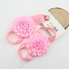 1pair baby barefoot children solid color flower sandals infant Toddler For Photography props