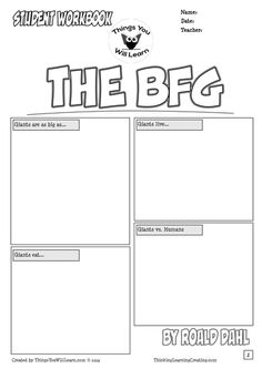 Printables Bfg Worksheets english the bfg and ojays on pinterest workbook has comic style worksheets novel study activities for story by roald dahl it includes cover page with a backgrou
