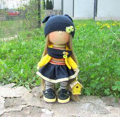 Julie Doll-Handmade Doll-Fabric Doll-Rag Doll-Textile Doll-Handmade Doll-Home…