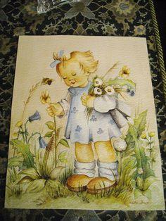 Vintage Watercolor Hummel Style Little Girl Picking Flowers by E. Fuchs-Bruder