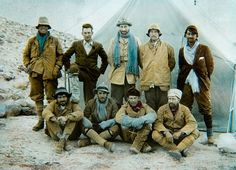The 1924 Everest expedition. Back row, left to right: Andrew Irvine,  George Mallory, Edward Norton, Noel Odell, and John Macdonald. Front row:  Edward Shebbeare, Geoffrey Bruce, Howard Somervell, and Bentley Beetham.