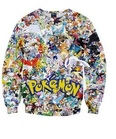 Frauen Karikatur Pokemon Printed Long Sleeve 3D Digital Printed Crew Neck Pullover Strickjacke Sweatshirt (Pokemon#1)Tag xL