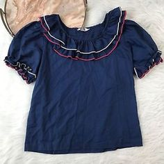 Perry Classic Vtg Small Blue Ruffle Neck Square Dancing Top Puff Sleeve A69  | eBay