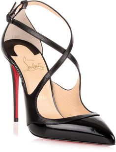 9bc11387b035 Black leather and patent leather pump from Christian Louboutin. The Crissos  has a stiletto heel