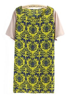 Yellow Contrast Short Sleeve Retro Triabl Print Shift Dress pictures