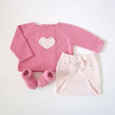 knitted sweater with diaper cover - a sweet pink heart: finished item for sale by Etsy store tenderblue