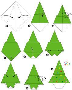 Pliage de papier en sapin de Noël - Pliage papier ou origami