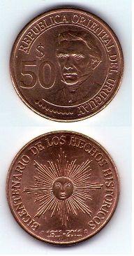 Moneda 50 pesos Uruguay año 2011 Bicentenario