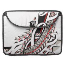 polytat tribal tatau spearhead red warrior symbols sleeve for MacBook pro