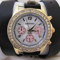 Black Leather Wrap Gold Watch. 30% Off - 59 Dolars Only. FREE SHIPPING