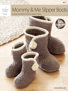 These matching booties are made using Berroco Comfort Chunky-weight yarn. Pattern includes toddler sizes 5/6 (7/8, 9/10, 11/12 1/2) and adult sizes 5/6 (7/8, 9/11). Main color for toddler sizes requires 1 skein and adult requires 2 skeins, or any chunky-weight yarn, plus a small amount of contrasting color in chunky weight.