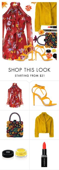 """""""It's Almost Spring!"""" by juliehooper ❤ liked on Polyvore featuring Erdem, Aquazzura, Sanayi 313, Jean-Paul Gaultier, Givenchy, Smashbox, Concrete Minerals, yellow, florals and polyvoreeditorial"""