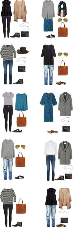 This post the follow up to What to Pack for Amsterdam from yesterday. This one includes 20 outfit options from the pieces in the list with room to make more.