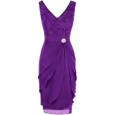Dresstore Women's V Neck Short Lace Bridesmaid Dress Mother of the... ($60) ❤ liked on Polyvore featuring dresses, v neck cocktail dress, purple cocktail dresses, purple dresses, purple bridesmaid dresses and purple mother of the bride dresses
