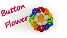 Button (pin back) Flower Tutorial by feelinspiffy (Rainbow Loom) Rainbow Loom Tutorials, Rainbow Loom Patterns, Rainbow Loom Creations, Crazy Loom Bracelets, Rainbow Loom Bracelets, Rainbow Loom Bands, Rainbow Loom Charms, Fun Loom, Weaving Art
