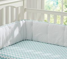 Harper Nursery Bedding Collection | Pottery Barn Kids: Harper Chevron--LOVE the aqua sheet!!