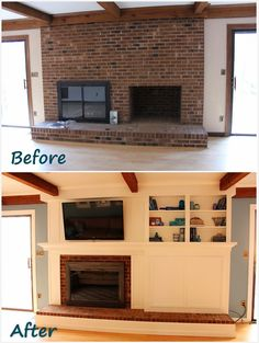 Fireplace Remodel: DIY a fireplace facade to cover an old brick fireplace, without painting the brick