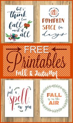 Free printables for Fall. Start your Fall decorating with these lovely printables.