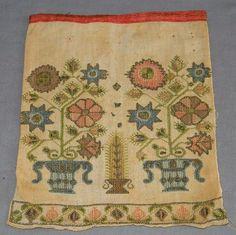 Circa 1790 Folk Art Needlework Sampler Sewing Pocket