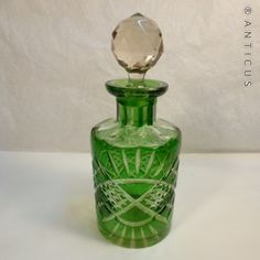 Perfume Bottle, Green Overlay Glass, Edwardian. (C12375) For Sale | Antiques.com | Classifieds